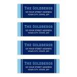 Modern, navy blue bar mitzvah mailing or return address labels with lighter blue borders
