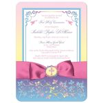 Pink, yellow, purple, blue and white first holy communion invitation with ribbon, bow, flowers, scrolls, religious Cross and doves.