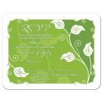 Greenery green and white leafy vine and leaves wedding RSVP card front