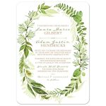 Greenery wedding invitation with assorted green watercolor foliage, leaves, stems and boughs in an oval wreath shape on a white background.