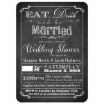 Black and white vintage poster Eat, Drink and be Married couple's wedding shower, bridal shower invitation with ornate scrolls, whimsical scrolls and pointing hand.