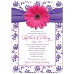 Pink and purple gerbera daisy floral damask Bat Mitzvah invitation front