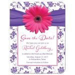 Pink and purple gerbera daisy floral damask Bat Mitzvah save the date announcement front
