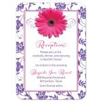 Pink and purple gerbera daisy floral damask Bat Mitzvah reception insert card front