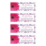 Pink and purple gerbera daisy floral damask Bat Mitzvah return address mailing labels