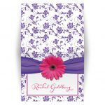 Pink and purple gerbera daisy floral damask Bat Mitzvah thank you card
