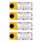 Purple yellow sunflower floral damask Bat Mitzvah return address mailing labels