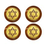 Brown and gold foil chocolate Bar Mitzvah envelope seals or favor stickers
