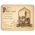 Beautiful vintage medieval castle fairy tale once upon a time RSVP card