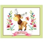 ​Personalized cute woodland moose animal art print in bright pink, green, brown, orange, yellow, blue and green watercolors with pink ribbon banner with name.