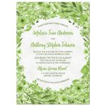Greenery botanical foliage and leaves green and white watercolor wedding invitation front