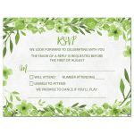Greenery botanical foliage and leaves green and white watercolor wedding RSVP card front