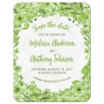 Greenery botanical green and white watercolor wedding save the date front