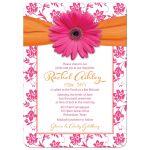 Orange floral damask hot pink gerbera daisy Bat Mitzvah invitation front