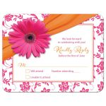 Orange floral damask and hot pink daisy and ribbon Bat Mitzvah RSVP card front