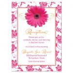 Orange floral damask and hot pink daisy and ribbon Bat Mitzvah reception insert card front