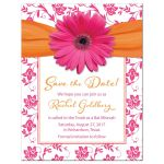 Orange floral damask and hot pink daisy and ribbon Bat Mitzvah save the date announcement front