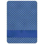 Royal blue, silver grey, white polka dots Confirmation invite with ribbon, bow, doves and silver Cross.
