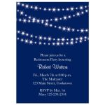 sparkly twinkle lights on navy blue retirement party invitation