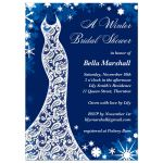 This winter bridal shower invitation is decorated with delicate snowflakes and a lacy wedding dress on a blue background.