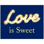 Love is Sweet in marquee lights, navy blue wedding poster