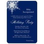 large snowflake accents this navy blue corporate holiday party invitation