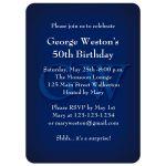 Masculine Monogrammed Blue Birthday Invitation