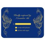 Royal Blue and Gold Peacock Wedding RSVP