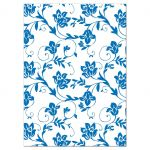 Yellow sunflower french blue damask floral wedding reception card back