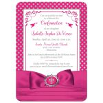 Fuchsia pink, silver grey, white polka dots Confirmation invite with ribbon, bow, doves and Cross.