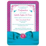 Fuchsia pink, teal blue, and white polka dots Confirmation invitation with ribbon, bow, doves and Cross.