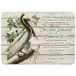 Unique rustic vintage pelican destination or beach wedding invitation