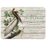 Unique rustic vintage pelican destination or beach wedding invitation