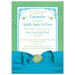Blue, Green ​and white polka dots Confirmation invitation with ribbon, bow, doves and Cross.