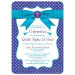 Purple, turquoise blue and white polka dots Confirmation invitation with ribbon, bow, doves and Cross.