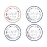 ​Pastel watercolor wildflowers bohemina wedding envelope seals that feature a beautiful round wreath of wildflowers and greenery in shades of smokey plum, lavender purple, dusty blue, peach, taupe and green on a white background.