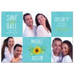 Whimsical turquoise, yellow, and white sunflower photo wedding save the date announcement