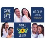 Whimsical navy blue, yellow, and white sunflower photo wedding save the date announcement