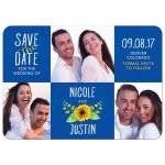 Whimsical royal blue, yellow, and white sunflower photo wedding save the date card