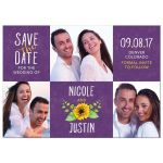 Whimsical purple, yellow, and white sunflower photo wedding save the date announcement