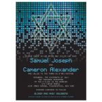 Blue, green, black raining pixels Star of David video game Bar Mitzvah invitation front
