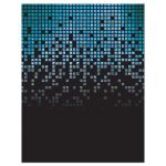 ​Blue, green, black raining pixels Star of David video game B'nai or Bar Mitzvah RSVP card back