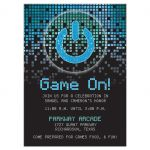 Blue, green, black raining pixels Star of David video game B'nai Mitzvah reception card front