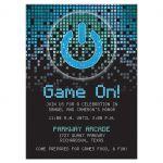 Blue, green, black raining pixels Star of David video game B'nai Mitzvah reception card front
