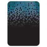 Blue, green, black raining pixels Star of David video game B'nai Mitzvah reception card back
