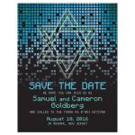 Blue, green, black raining pixels Star of David video game Bar Mitzvah save the date card front