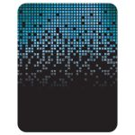 Blue, green, black raining pixels Star of David video game Bar Mitzvah save the date card back