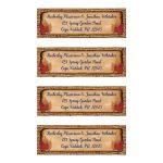​Personalized address labels with simulated brown burlap texture border with aged paper look overlay that has navy blue return address information with two pairs of dried autumn leaves.