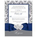​Navy blue, gray and white damask pattern wedding RSVP cards with ribbon, bow, glitter and a jeweled joined hearts buckle on it.