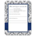 ​Navy blue, gray and white damask pattern wedding response enclosure card insert with ribbon, bow, glitter and a jeweled joined hearts buckle on it.